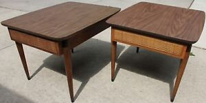 Pair Mid Century Modern American Martinsville End Tables W Drawer Local Pu Only