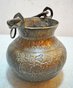 Original Old Antique Hand Crafted Engraved Fine Brass Well Water Bucket