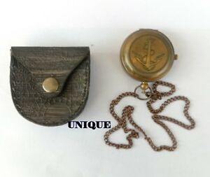 Nautical 2 Push Button Watch With Leather Case Collectible Watch Gift Item