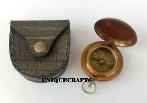 Nautical 2 Push Button Compass W Leather Case Directional Compass Best Gift