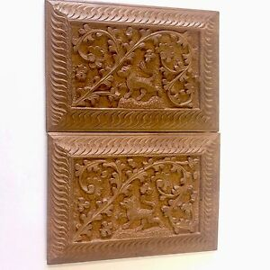 Antique Carved Wood Card Case Needle Pin Holder