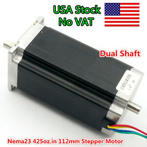 at Us Nema23 57 Stepper Motor Dual Shaft 425oz in 112mm 3 0a Cnc Lathe Milling