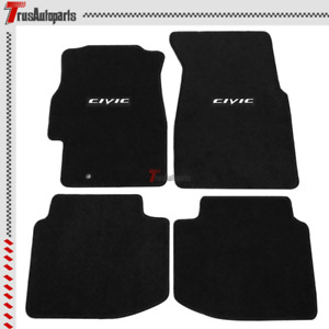 For 96 00 Honda Civic Black Nylon Floor Mat Set Non slip Front Rear 4pc Carpet