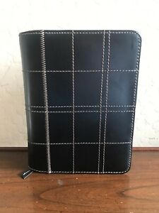Franklin Covey Stitched Black Leather Full Zip Planner 6 Ring Binder Organizer