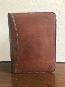 Franklin Covey Brown Full Grain Leather Classic Binder Planner Organizer 7 Rings