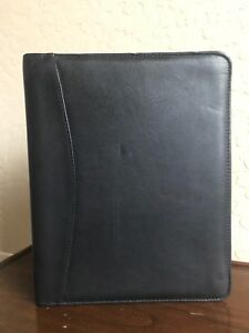 Franklin Covey Black Full Grain Leather Classic Planner Binder Organizer 7 Rings