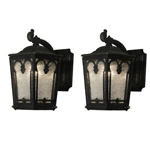 Pair Of Antique Cast Iron Lantern Sconces Early 1900 S Nsp1429