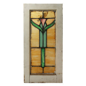 Antique American Stained Glass Window With Flower Nsg217