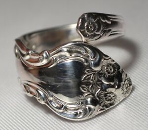 Vintage Watson Wallace Meadow Rose Sterling Spoon Ring Size 7 Free Shipping