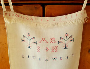 Homespun Linen Antique Pennsylvania Primitive Emb Show Towel Signed Dated 1826