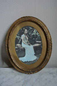 Antique Art Deco Gold Bronze Gilt Gesso On Wood Oval Picture Frame Picture