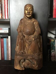 Antique Chinese Hand Carved Wood Altar Buddha Chinoiserie With Gilding