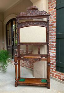 Antique English Carved Oak Hall Tree Stand Dome Mirror Renaissance Coat Hat Rack