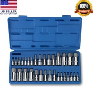 Master Hex Bit Set 34pc Sae Metric Socket Set Standard Allen 1 4 3 8 1 2