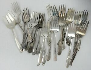 Lot Of 25 Silverplate Cold Meat Serving Forks Vintage Flatware Silverware
