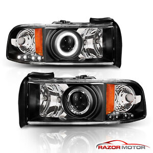 For 1994 2001 Dodge Ram 1500 2500 3500 Led Halo Projector Headlights Black