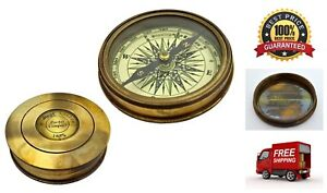 Authentic Vintage Style Brass Pocket Compass Nautical Retro Robert Frost Poem