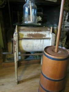 Antique Blanchard Butter Churn Stand Floor Model Concord Nh 1880 1890 S