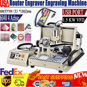 Usb 4 Axis 6040 Cnc Router Engraver 3d Cutter Mill drilling Machine 1 5kw Vfd rc