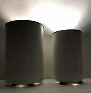 Pair Mid Century Modern Space Age George Kovacs Cylinder Can Lamps 1980s