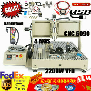 Usb Cnc 6090 Router 4 Axis Engraver Wood Pvc Carving Milling Machine 2200w Rc