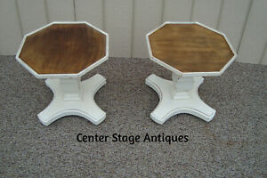 59446 Pair Octagon Decorator Wood Coffee Table Stand S