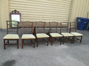 57178 Ethan Allen Table With 6 Chairs Table Top 102 X 42