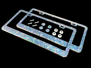 2 Bling License Plate Frames Silver Clear White Glitter Diamond Holographic Caps
