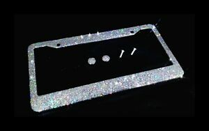 Bling License Plate Frame Silver Holographic Crystal Glitter Diamond Holder