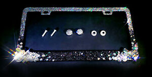 Ombre 3d Bling License Plate Frame Silver Clear Black Metal Crystal Glitter