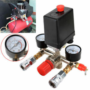 240v Air Compressor Pressure Switch Control Valve Manifold Regulator Gauges