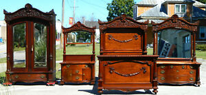 4 Piece Mahogany Victorian Bedroom Set Bed Dresser Washstand Wardrobe C1890 1910