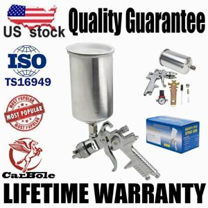 Gravity Feed 2 5mm Hvlp Air Spray Gun W Regulator Auto Paint Primer Metal Flake