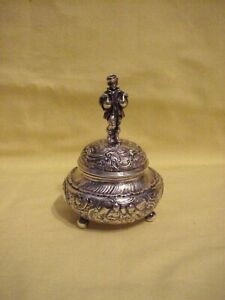 Sterling 800 Silver Figural Man Holding Geese Hinged Box Exceptional