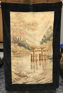 Antique 19th Century Japanese Chinese Landscape Embroidery Panel 36 X 55