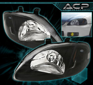 Black Housing Amber Reflector Clear Lens Headlights For 99 00 Civic Sedan Coupe
