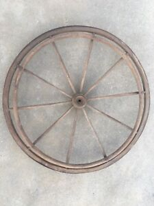 Antique Country Wood Wheel Chair Cast Iron Wood Wall Mount Chandelier