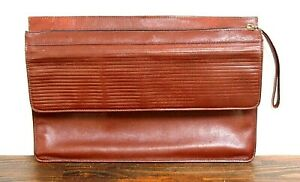 10 x15 5 Vtg Brown Real Leather Flap Zip Strap Planner Paper Organizer Portfolio