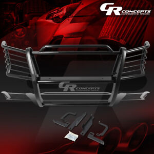 Black Mild Steel Front Bumper Grille grill Guard Kit For 03 07 Chevy Silverado