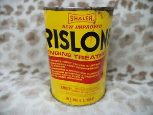 Vtg Rislone Engine Treatment Can   Metal 1 Quart Can   Shaler