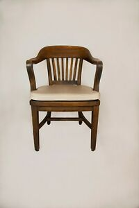 Vintage Sikes Wooden Banker Lawyer Schoolmaster Courtroom Arm Chair Cushion