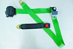 Closeout 3 Point Retractable Seat Belt With Push Button Lime