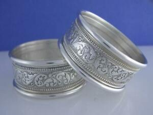 Pair Sterling Alvin Napkin Rings W Scroll Bead Design S17 1 No Mono