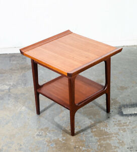 Mid Century Danish Modern Side Table End Nightstand Solid Teak Japanese Japan Vg