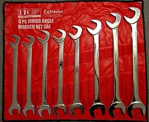 Full Chrome Polish 8 Pc Jumbo Sae Angle Wrench Set Extreme Torque 1 5 16 To 2