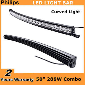 50inch 288w Curved Led Light Bar Flood Spot Combo Offroad Truck Ford Slim 48 52
