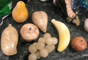 Antique Vintage Wooden And Marble Fruit Sculptures In Amazing Detail And Design