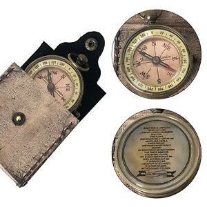 Vintage Pocket Brass Compass With Leather Case Dollond London Nautical Ship