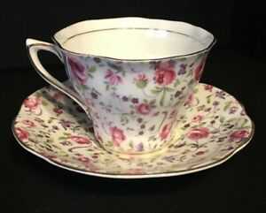 Vintage Rosina Rose Bone China Chintz Tea Cup And Saucer England