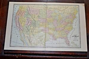 Antique 1886 Map Of The United States By George F Cram